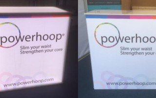 lightbox for Powerhoop exhibition stand