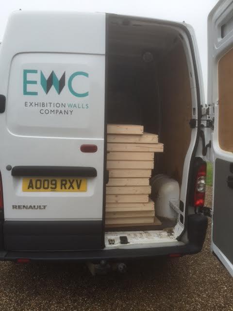 The EWC delivery van, delivering top-quality exhibition walls