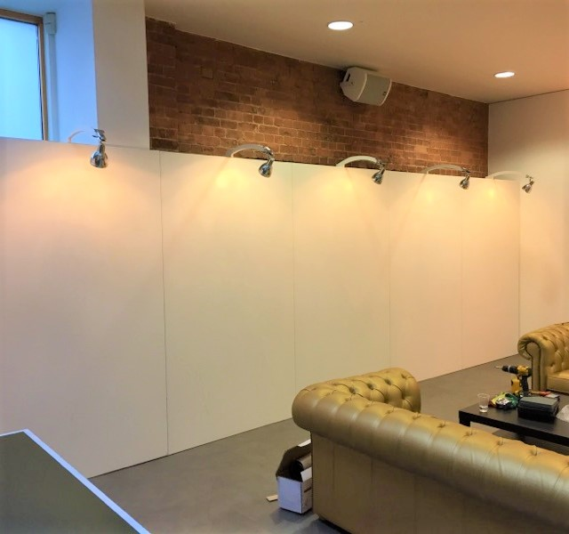 exhibition walling with lighting